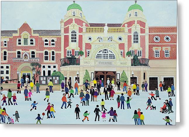 Wintry Greeting Cards - Richmond Theatre   London Greeting Card by Judy Joel