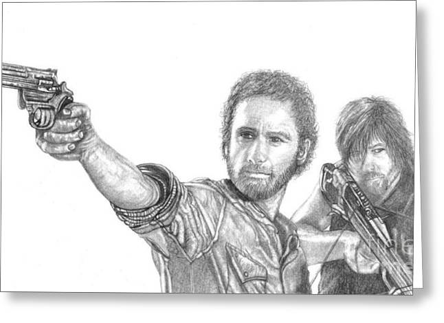 Rick Grimes Greeting Cards - Rick and Daryl Greeting Card by Jennifer Campbell Brewer
