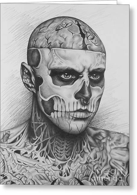 Tattoed Greeting Cards - Rick Genest Greeting Card by Elena Spedale