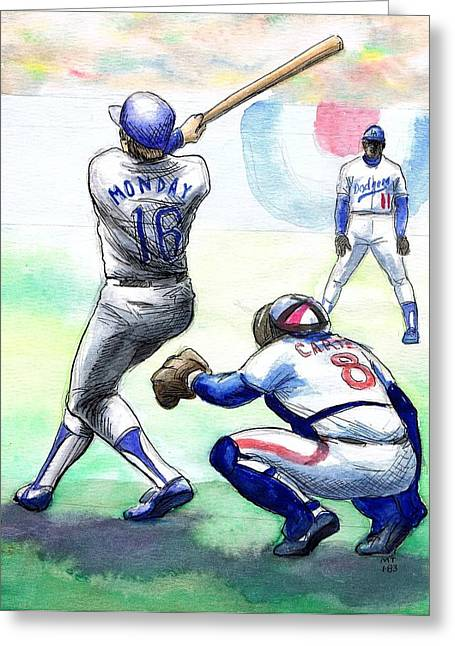Championship Drawings Greeting Cards - Rick Monday Greeting Card by Mel Thompson