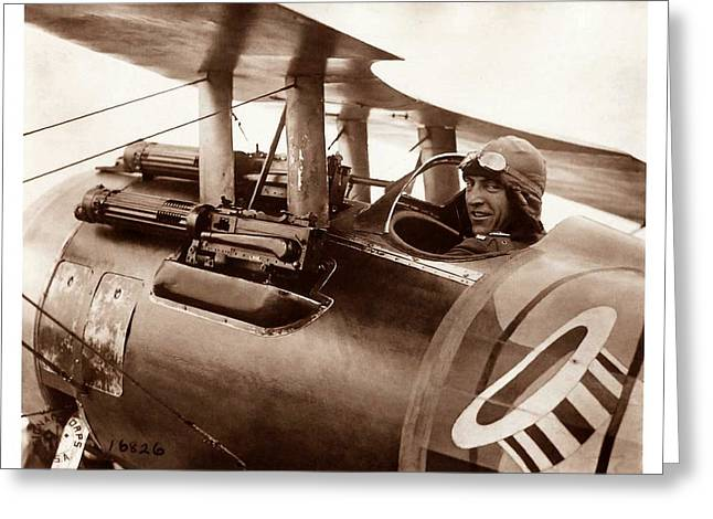 Eddie Rickenbacker Greeting Cards - Rickenbacker and his Spad XIII 1918 Greeting Card by US Signal Corp