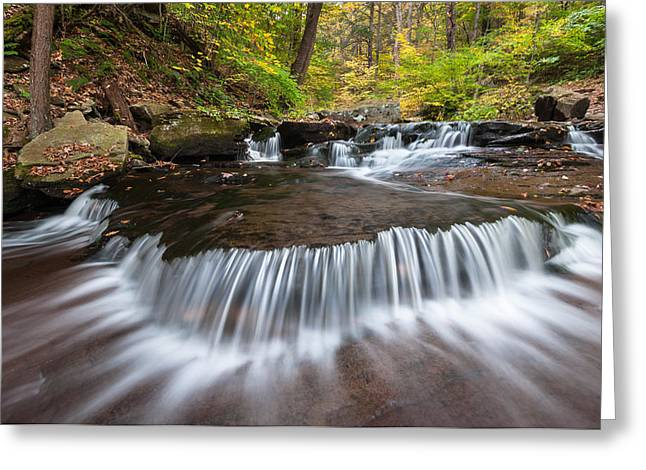 Fishing Creek Greeting Cards - Ricketts Glen State Park Pennsylvania Autumn Cascade Greeting Card by Mark VanDyke