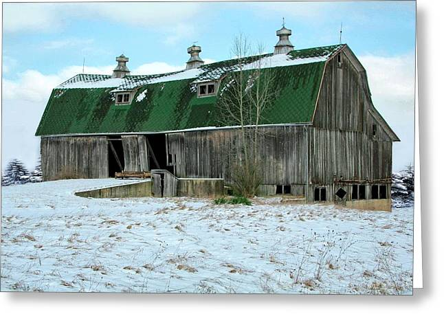 Old Barns Greeting Cards - Rickety Old Barn Greeting Card by Pat Cook