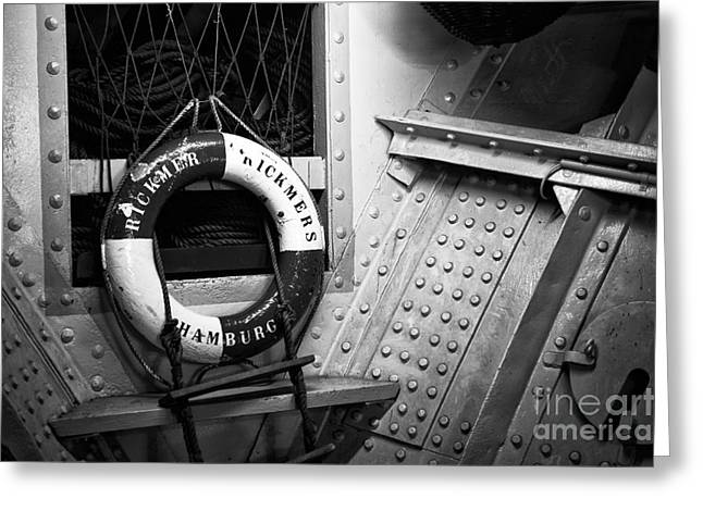 Old Ship Art Greeting Cards - Rickmers Hamburg mono Greeting Card by John Rizzuto