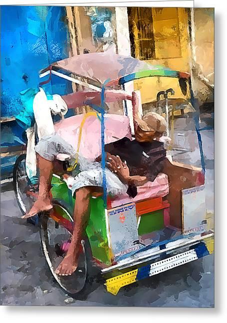 Sulawesi Greeting Cards - Rickshaw Greeting Card by Gareth Davies