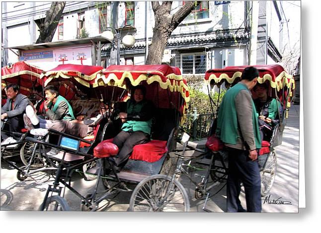 Hutong Greeting Cards - Rickshaws Greeting Card by Marti Green