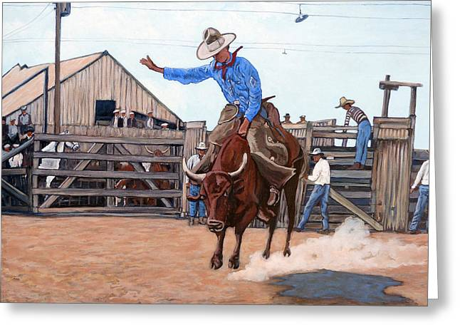Bull Rider Greeting Cards - Ride em Cowboy Greeting Card by Tom Roderick