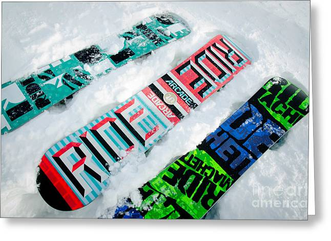 Snowboard Greeting Cards - RIDE IN POWDER snowboard graphics in the snow Greeting Card by Andy Smy