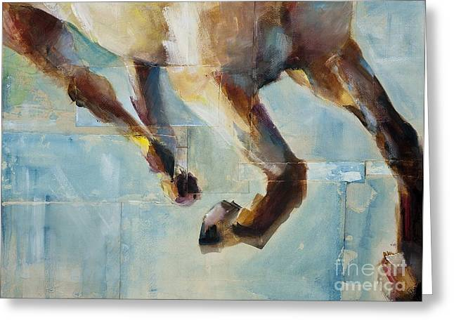 Abstract Equine Greeting Cards - Ride Like You Stole It Greeting Card by Frances Marino