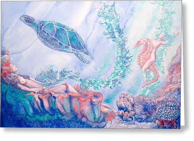Sea Anenome Greeting Cards - Ride of the Kelpnymph Greeting Card by Lori Dante