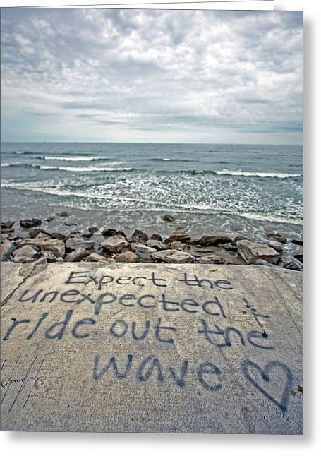 Galveston Greeting Cards - Ride out the wave Greeting Card by Ty Helbach