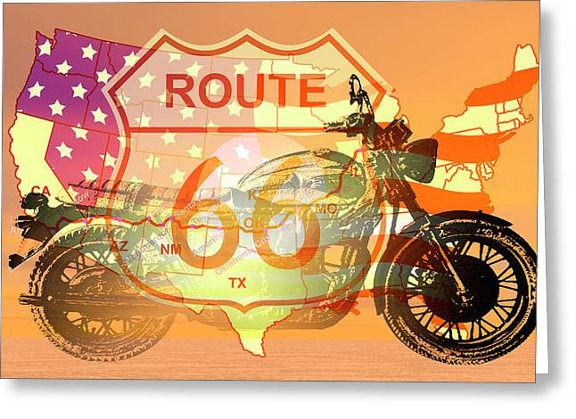 Ride Route 66 Greeting Card by Carol and Mike Werner