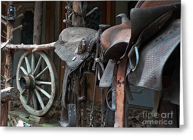 Texas Cowgirl Greeting Cards - Ride The Rail Greeting Card by Joy Tudor