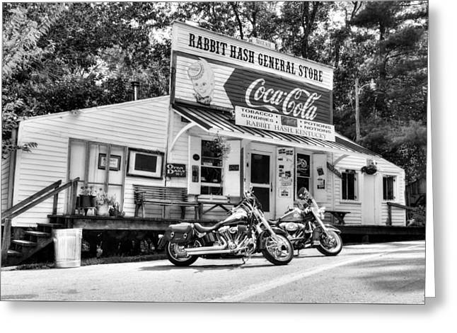 Ride To Rabbit Hash Bw Greeting Card by Tri State Art