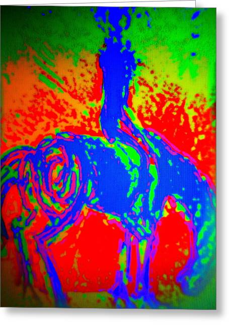 Sweating Paintings Greeting Cards - Rider B  Greeting Card by Hilde Widerberg