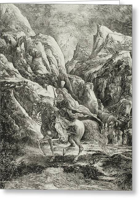 Rider In The Mountains Greeting Card by Rodolphe Bresdin