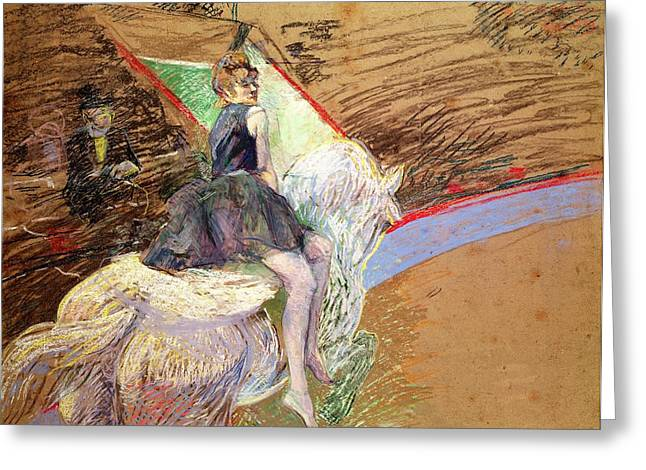 Cirque Greeting Cards - Rider on a White Horse Greeting Card by Henri de Toulouse Lautrec