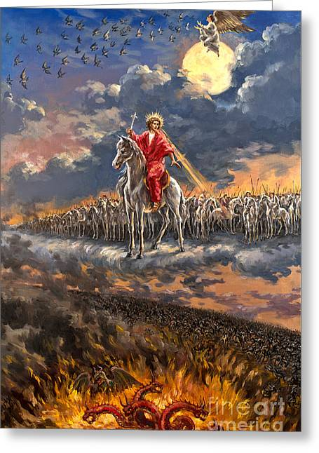 The Leaver Greeting Cards - Armageddon Original Oil on Canvas Signed Painting Revelation 19 Greeting Card by Vigovsky