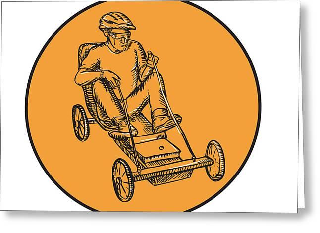 Letterpress Greeting Cards - Rider Riding Soapbox Etching Greeting Card by Aloysius Patrimonio