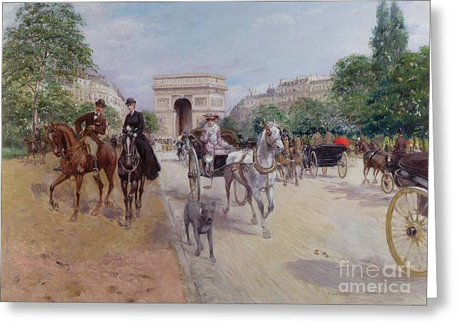Arc De Triomphe Greeting Cards - Riders and Carriages on the Avenue du Bois Greeting Card by Georges Stein