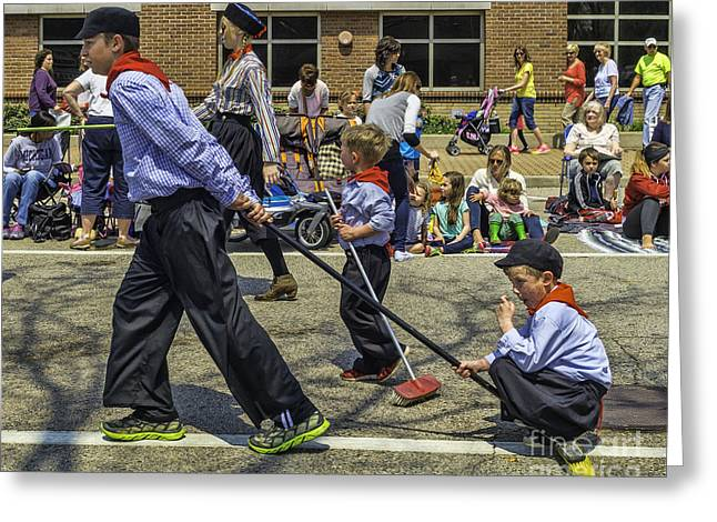 Street Sweeper Greeting Cards - Riding a Broom Greeting Card by Nick Zelinsky