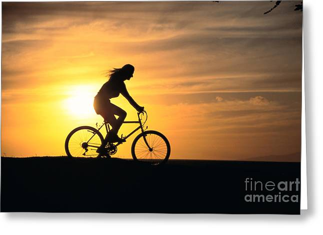 Athletic Sport Greeting Cards - Riding At Sunset Greeting Card by Dave Fleetham - Printscapes