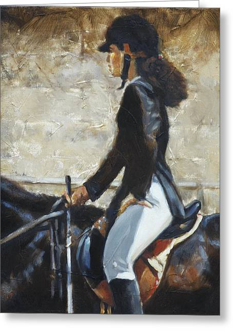 Horse Riding Greeting Cards - Riding English Greeting Card by Harvie Brown