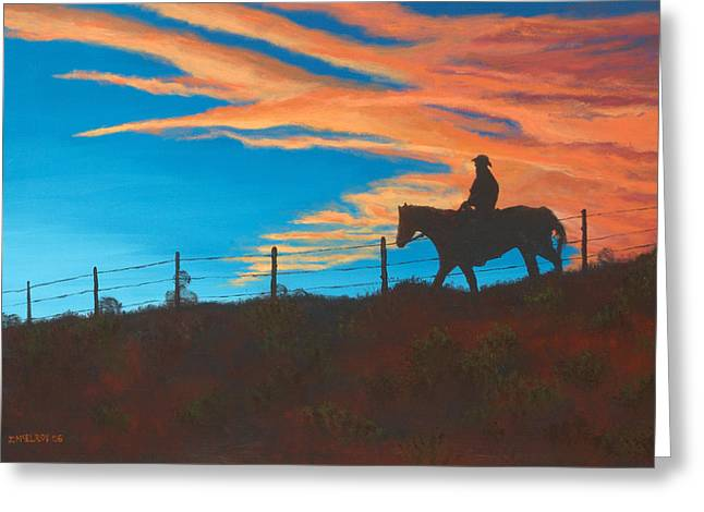 Jerry Mcelroy Greeting Cards - Riding Fence Greeting Card by Jerry McElroy