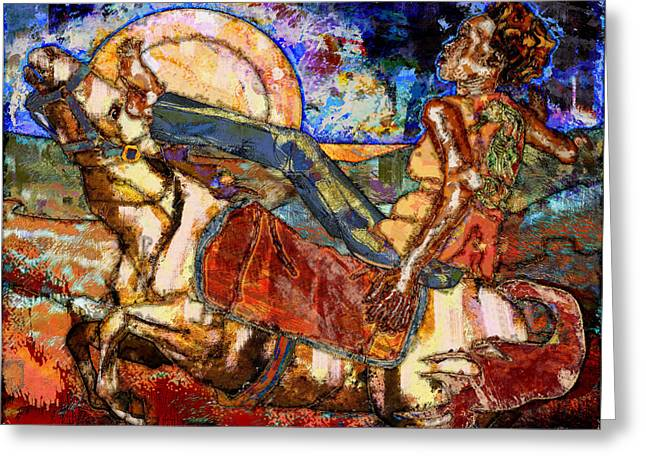 Santa Fe Digital Art Greeting Cards - Riding Horseback in Santa Fe Greeting Card by Mary Ogle