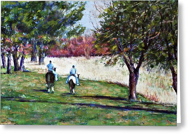 Pa Pastels Greeting Cards - Riding in Valley Forge Greeting Card by Joyce A Guariglia