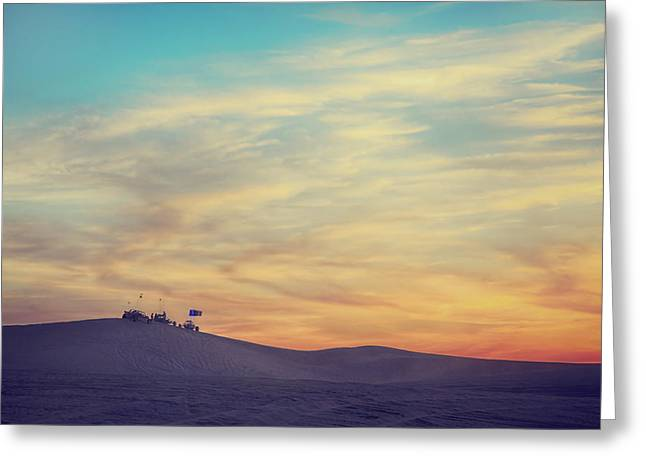 Riding Into The Sunset Greeting Card by Laurie Search
