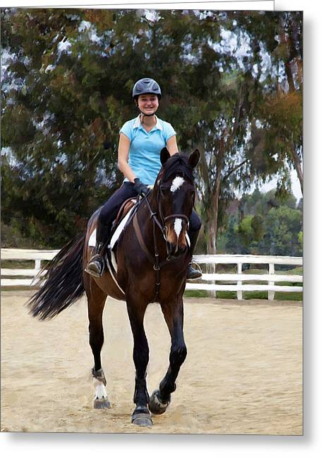 Lessons Greeting Cards - Riding Lesson Greeting Card by Enzie Shahmiri