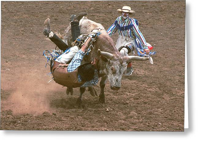 Bull Riding Greeting Cards - Riding Side Saddle Greeting Card by Jerry McElroy