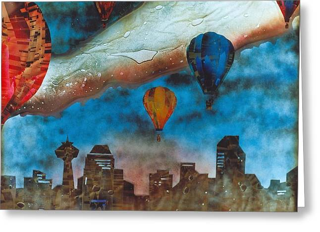 Cityscape Glass Greeting Cards - Riding the Chinook Greeting Card by Rick Silas