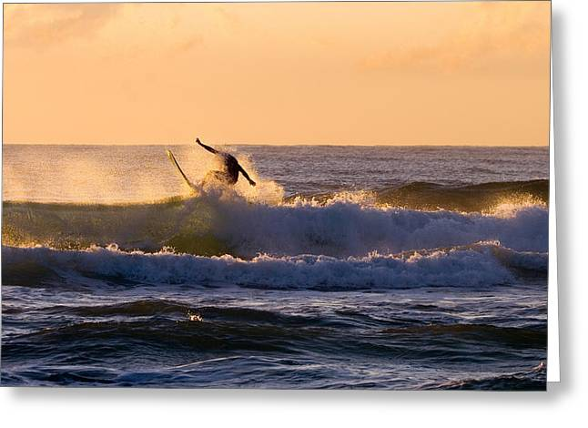 Surf Greeting Cards - Riding the Crest Greeting Card by Mike  Dawson