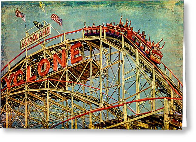 Amusements Digital Art Greeting Cards - Riding the Cyclone Greeting Card by Chris Lord