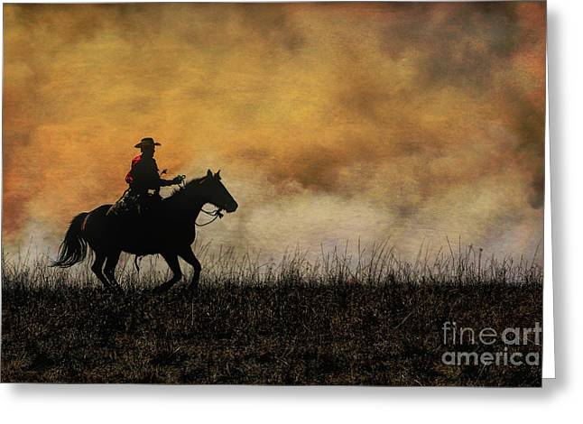 Horse Hill Preserve Greeting Cards - Riding the Fire Line Greeting Card by Lynn Sprowl