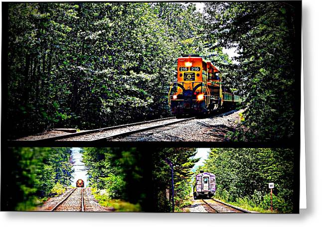 Old Caboose Greeting Cards - Riding the rails Greeting Card by Karen Cook