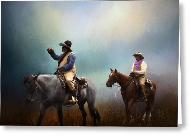 Chaps Greeting Cards - Riding The Range Greeting Card by David and Carol Kelly