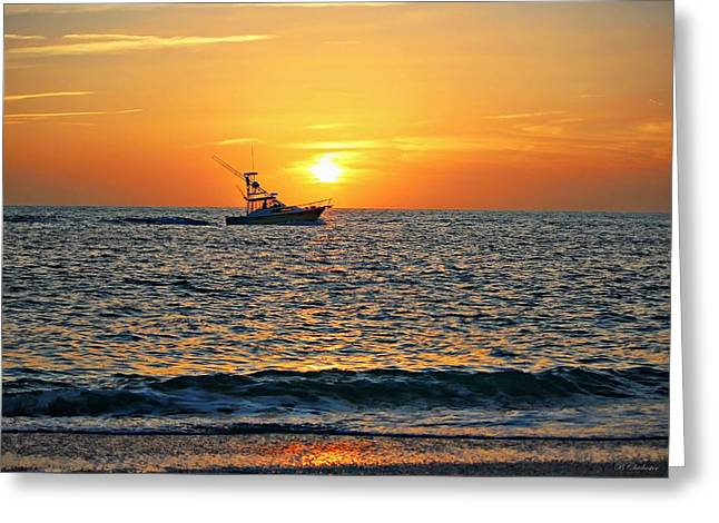 Ocean Photography Greeting Cards - Riding The Sunset Greeting Card by Barbara Chichester