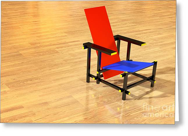 Laminated Board Greeting Cards - Rietveld chair parquet floor Greeting Card by Jan Brons