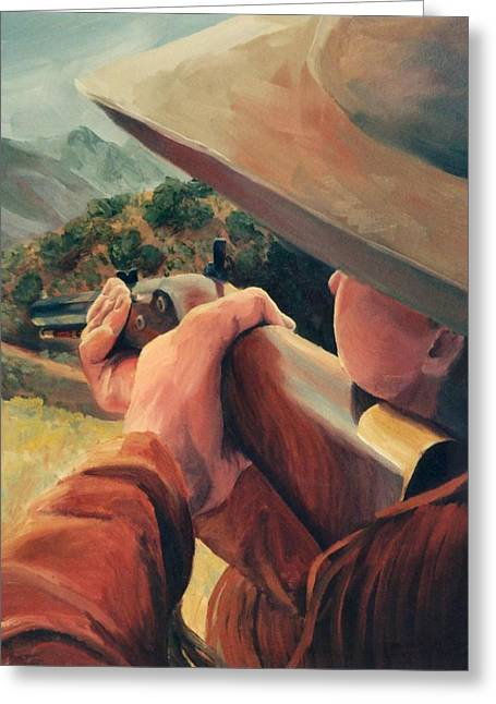 Western Greeting Cards - Rifleman on the Hill Western Cowboy Art Greeting Card by Kim Corpany
