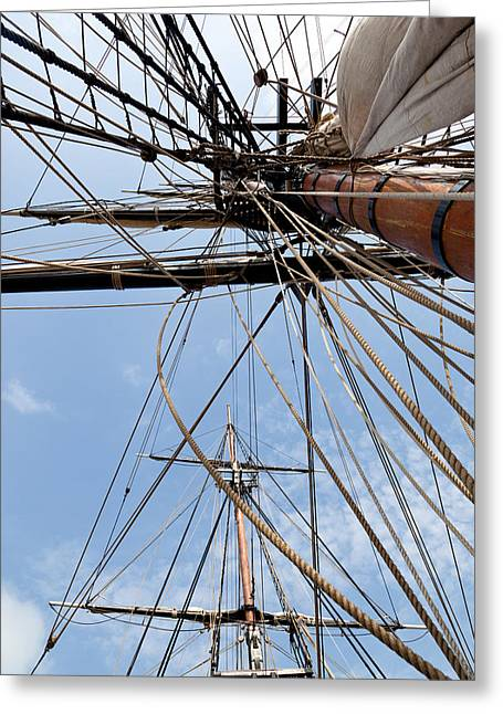 Hurricane Sandy Photographs Greeting Cards - Rigging Aboard the HMS Bounty Greeting Card by Michelle Wiarda