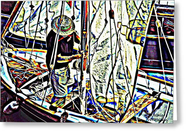 Sailboat Art Greeting Cards - Rigging His Boat Greeting Card by Lainie Wrightson