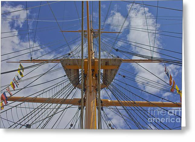 Wooden Ship Greeting Cards - Rigging Greeting Card by Terri  Waters