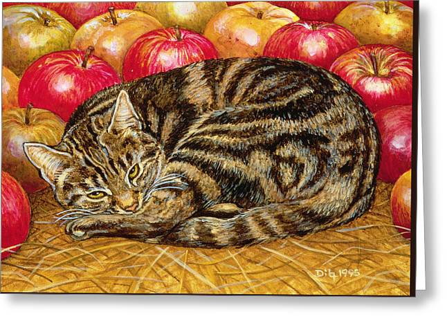 Signature Greeting Cards - Right Hand Apple Cat Greeting Card by Ditz