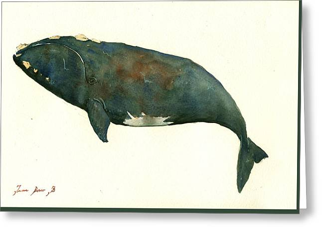 Rights Paintings Greeting Cards - Right whale painting Greeting Card by Juan  Bosco