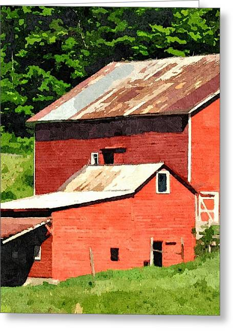 Red Roofed Barn Greeting Cards - Rigor Hill Barn 26 Greeting Card by Don Berg