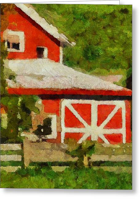 Red Roofed Barn Greeting Cards - Rigor Hill Barn 37 Greeting Card by Don Berg
