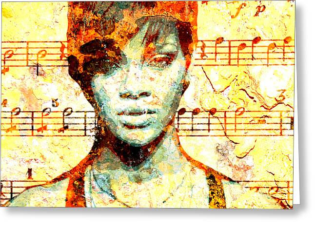 Rihanna Greeting Card by Chandler  Douglas